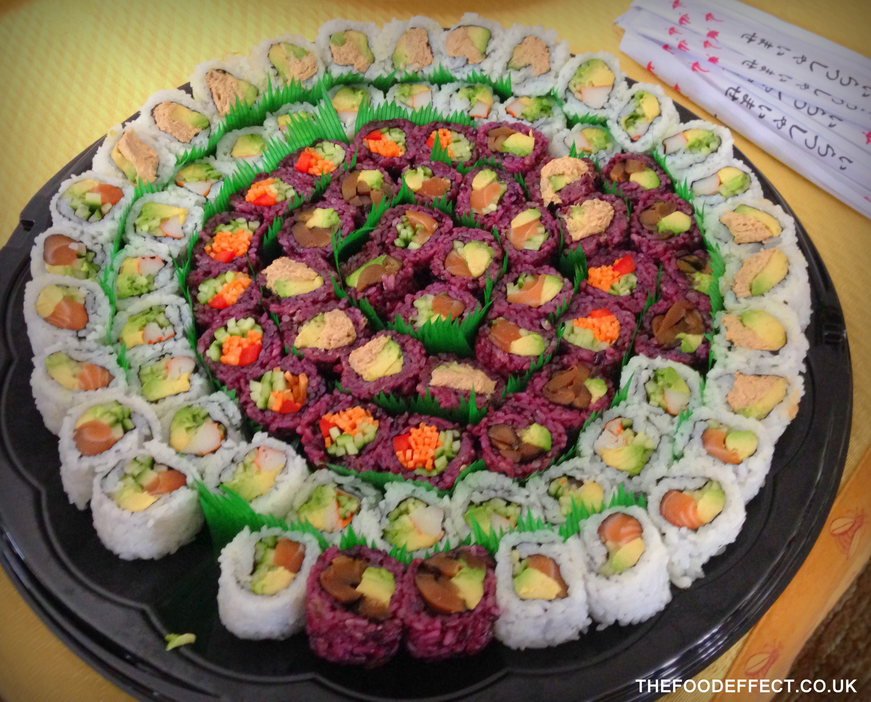 "Perfectly healthy sushi platter... no ""deep fried"" or tempura rolls!"