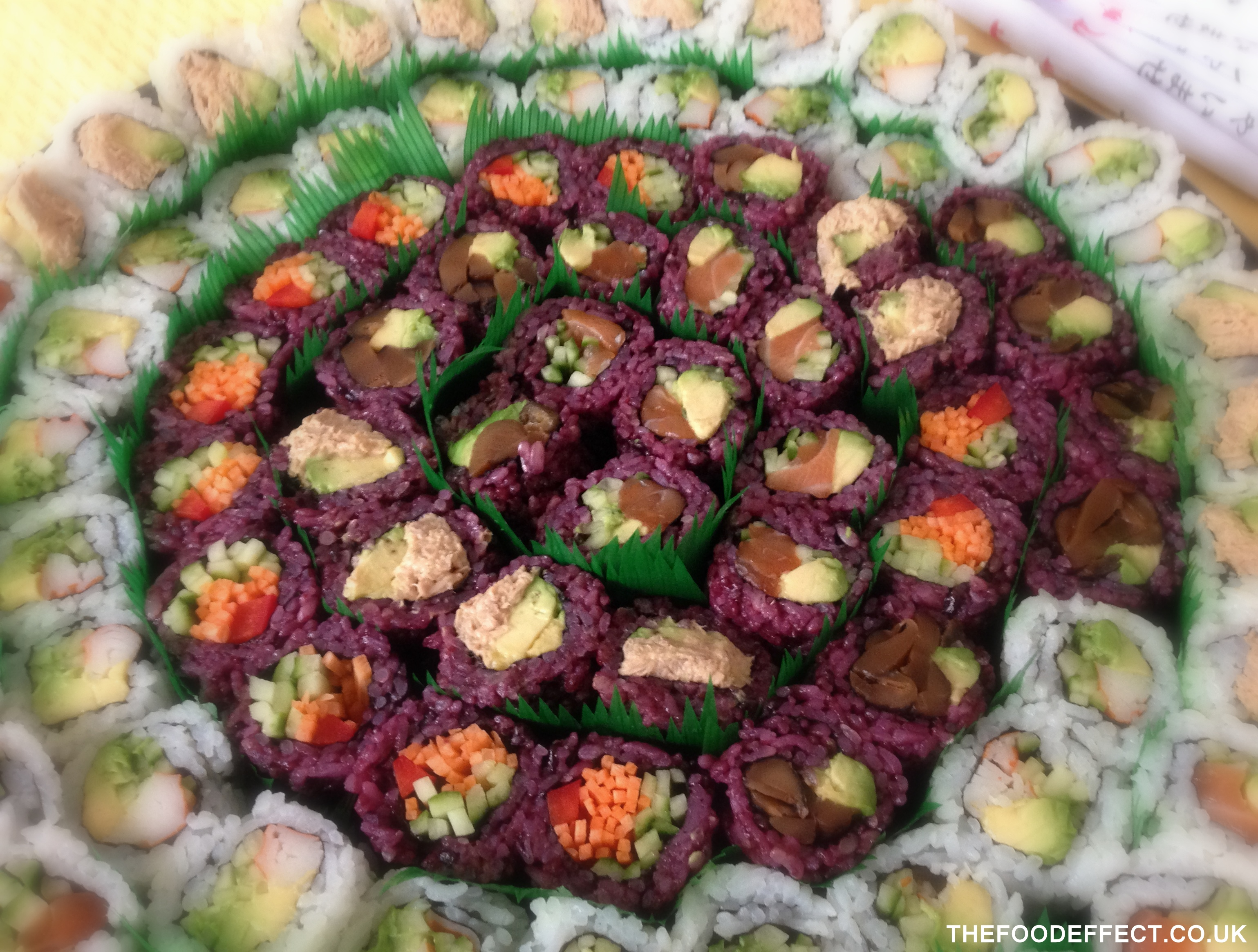 "Purple sushi… made with ""black rice"" – high in Vitamins E & D (& was delicious too!) :-)"